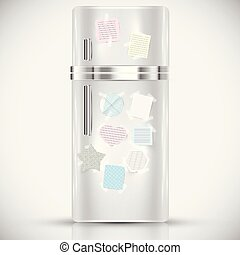 Fridge with paper labels on it, vector