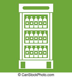 Fridge with refreshments drinks icon green