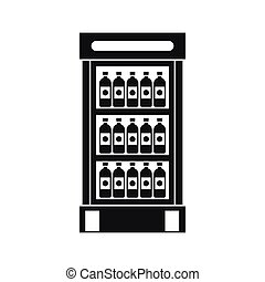 Fridge with refreshments drinks icon, simple style