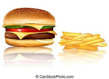 frie., hamburger, francese, vector.