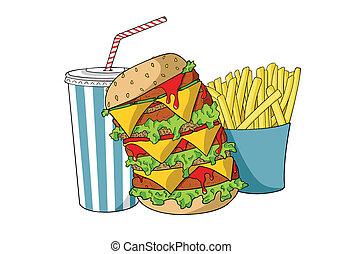 frie, hamburger, franse , soda