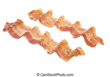 Fried bacon strips isolated on white background.
