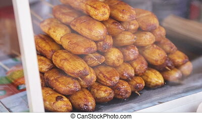 Fried bananas in the street market - fried bananas ,Fried...