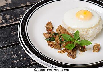 Fried basil leave with pork