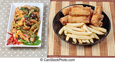 Fried basil mixed vegetable,dessert