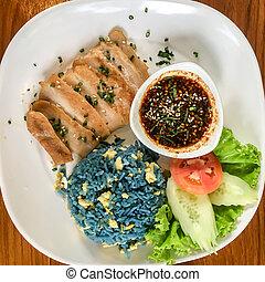 fried blue rice