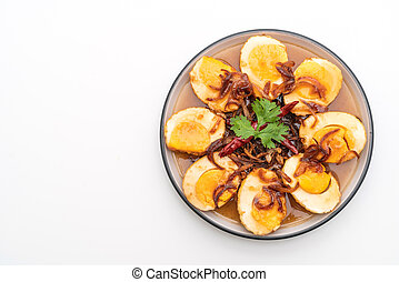 Fried Boiled Egg with Tamarind Sauce