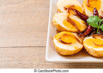 Fried Boiled Egg with Tamarind Sauce or Sweet and Sour Eggs