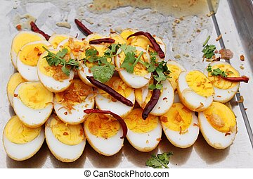 Fried boiled egg with tamarind sauce (Son-in-law Eggs)