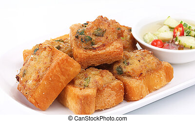 Fried bread with minced pork spread (Thai food) on white ...