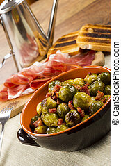 Fried Brussel Sprouts with Ham - Fried Brussel Sprouts with...