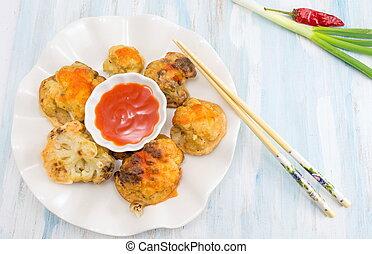 fried cacheese stuffed mushrooms on a plateuliflower