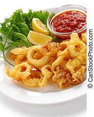 fried squid with marinara sauce