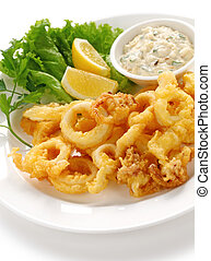fried squid with tartar sauce