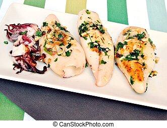 fried calamari with parsley