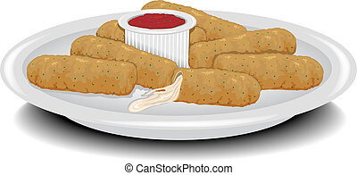 Fried Cheese Sticks - Illustration of a plate of fried...