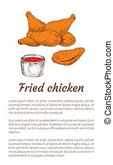 Fried Chicken and Sauce Poster Vector Illustration - Fried...