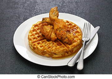 fried chicken and waffles, american food