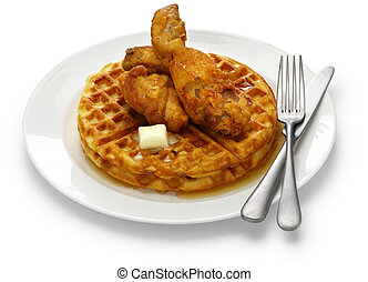 fried chicken and waffles with maple syrup, american food