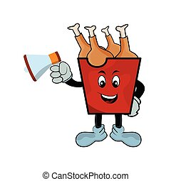 Fried chicken cartoon character in red bucket with megaphone. Design template vector