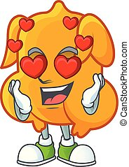 Fried chicken cartoon with the character in love