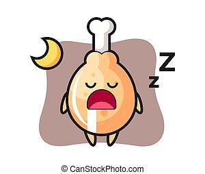Fried chicken character illustration sleeping at night