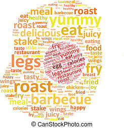 Fried Chicken Egg Word Cloud Concept Vector Illustration