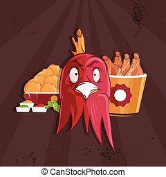fried chicken fast food vector illustration