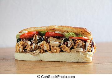Fried Chicken foot long sub sandwich