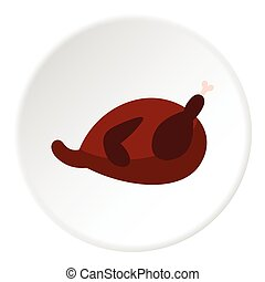 Fried chicken icon, flat style