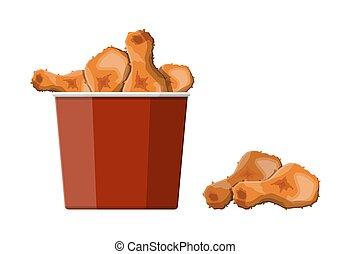 Fried chicken in red bucket. Chicken drumsticks in deep...