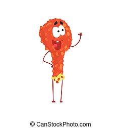 Fried chicken leg cartoon fast food character, element for menu of cafe, restaurant, kids food, vector Illustration