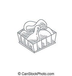 Fried Chicken Legs Hand Drawn Sketch