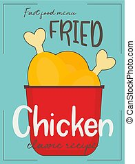 Fried chicken legs on red box. Fast food poster design. ...