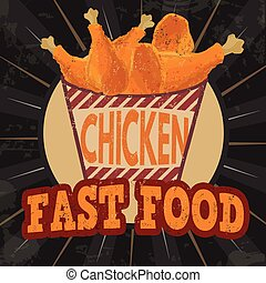 Fried chicken legs on striped box retro poster