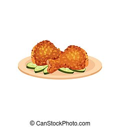 Fried chicken legs served with cucumbers on a plate, tasty poultry dish vector Illustration on a white background