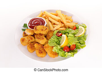 fried chicken nugget with french fries and salad