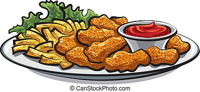 breaded chicken nuggets and french fries with sauce