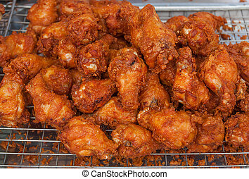 Fried chicken on the market.