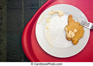 fried chicken piece on a plate serverd with mayonnaise