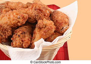 fried chicken - basket of crispy fried chicken