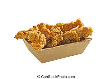 Fried chicken strips in a box