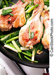 Fried chicken with green onion