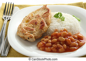 fried chicken with rice and beans
