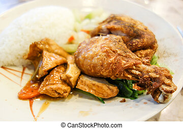 fried chicken with rice