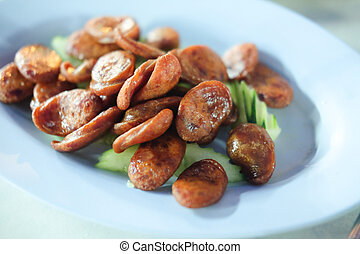 fried chinese sausage, Thai style food