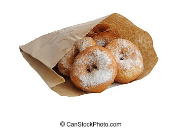 Fried donuts in a paper bag