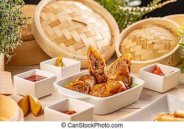 Fried duck spring rolls