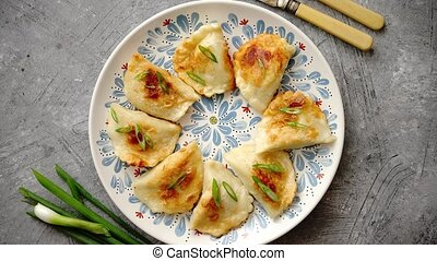 Fried dumplings with meat filling sprinkled with fresh chive...