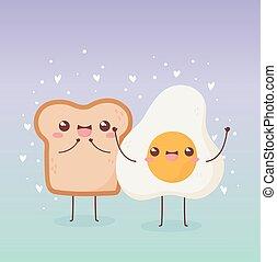 fried egg and bread breakfast kawaii food cartoon character design